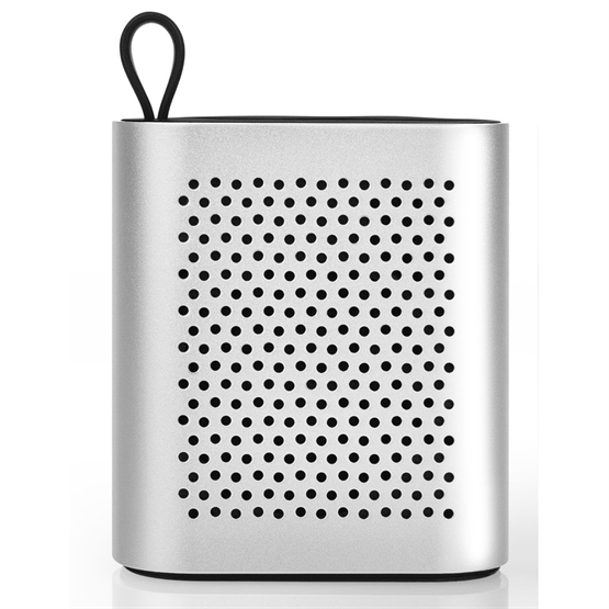 Front View of Silver Bluetooth Speaker