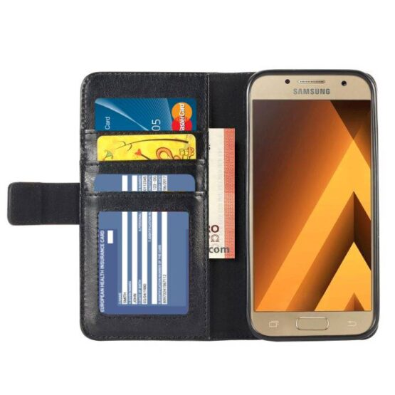 An open black leather Samsung Galaxy A5 2017 mobile phone case show cash and cards.