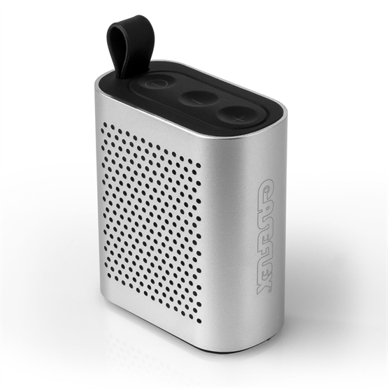 Picture of a Silver Bluetooth Speaker standing up.