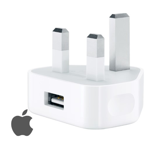 An Apple Charger Plug and Apple Logo