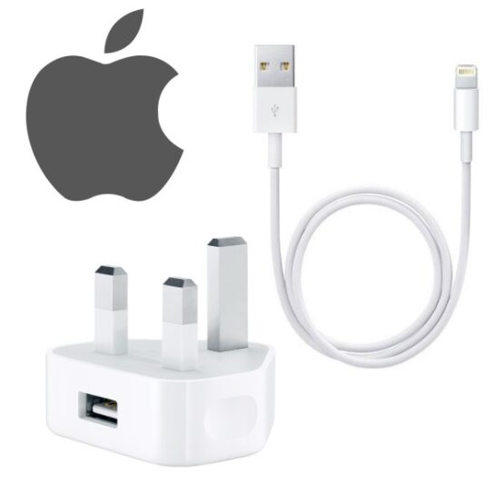 Apple iPhone Charger plug and apple iphone charging cable with apple logo.