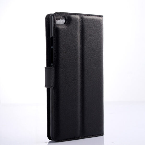 Back view of Black Flip Case for Huawei P8 Lite