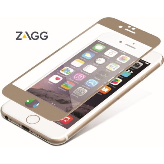 Image of iPhone with gold edged zagg hovering over.