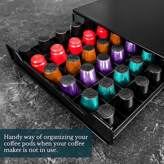 Nespresso Pods Capsules in different colors in a drawer
