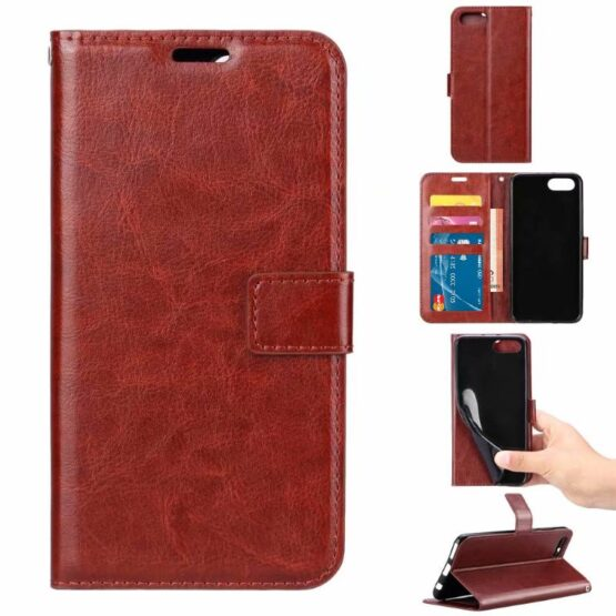 Show 5 Brown Huawei Y6 2018 Wallet Cases at different angles.