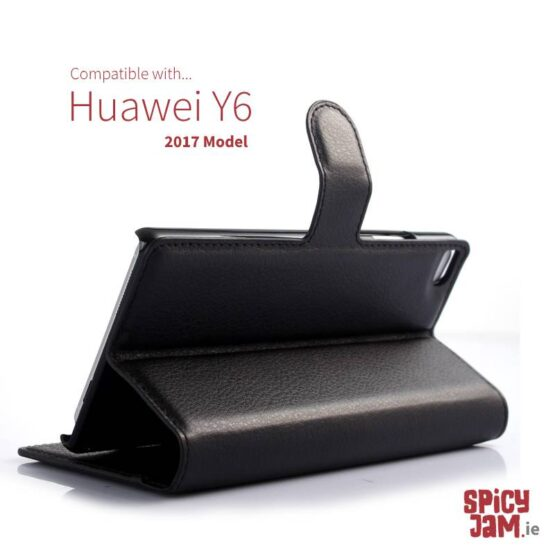 Huawei Y6 2017 Phone Case in black with stand.