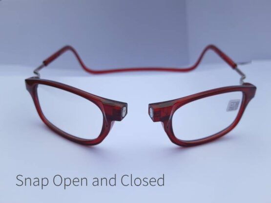Magnetic Opening Ready Readers in Red open at the bridge if the nose.