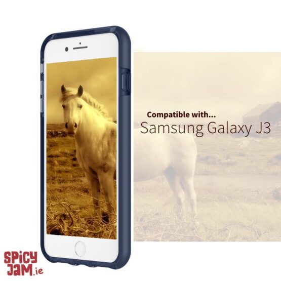Picture of J3 with navy case and an image of a horse on the screen in Ireland