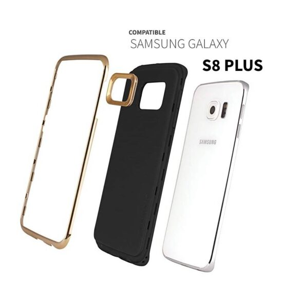 Show S8+ with Case in three parts gold rim, camera rim and cover