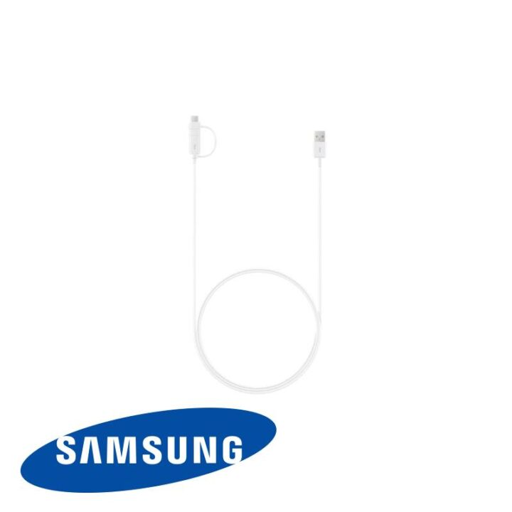 White Samsung Combo cable with Micro USB end and USB c end