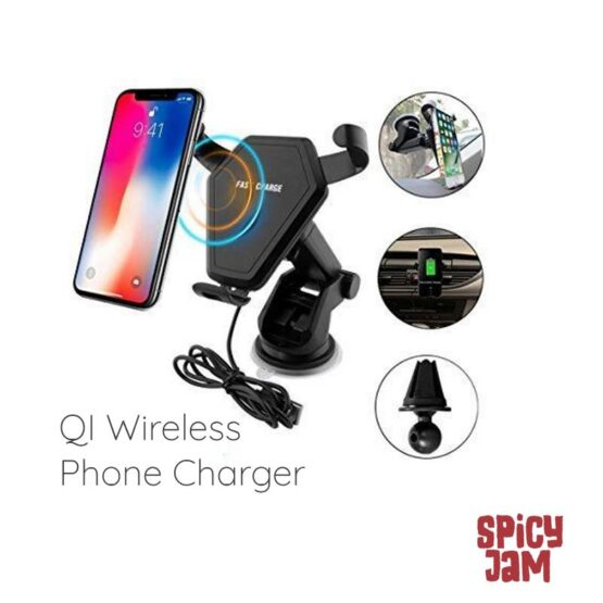 QI Wireless Charger and Phone showing vent and window attachments