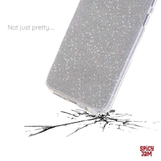 Glitter cover on phone smashing the ground.