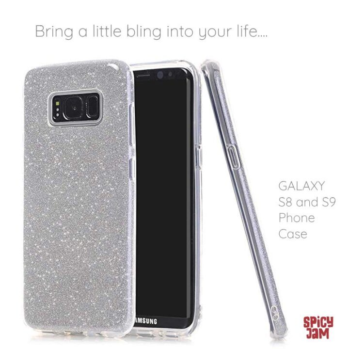 3 S8 phones with silver glitter covers