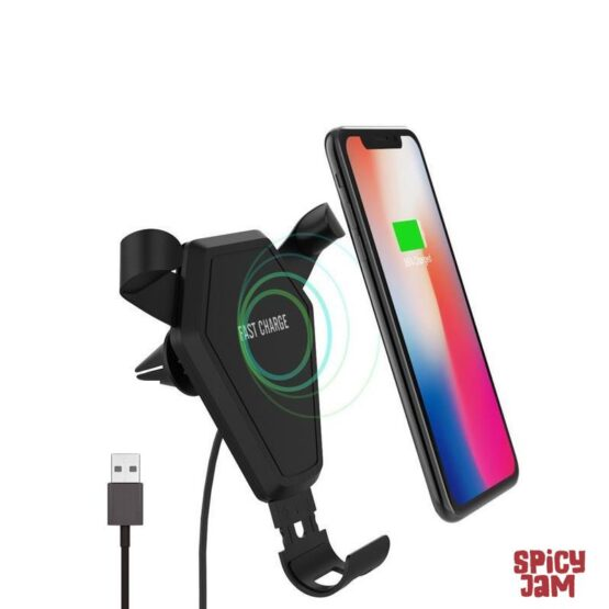 Picture of phone on car wireless charger