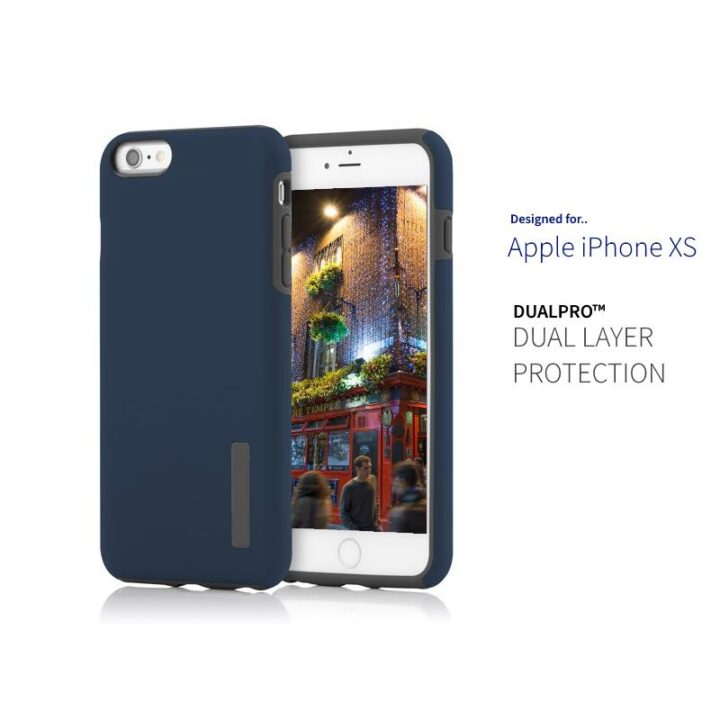 Dark blue phone case for iPhone XS with picture of pub in dublin on image.