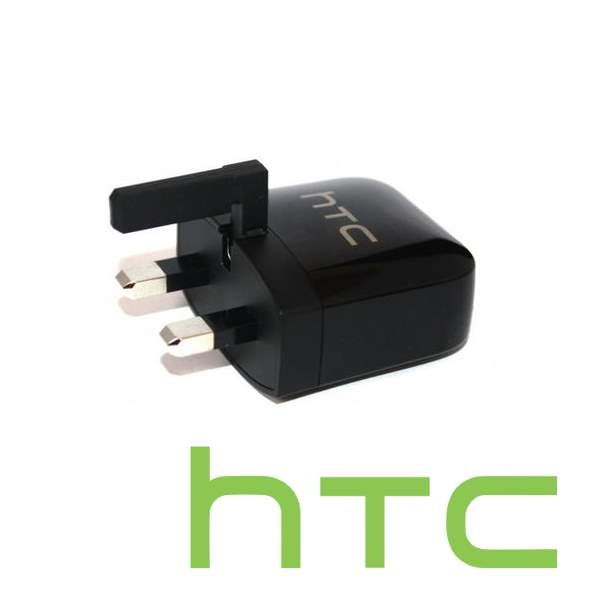 Black HTC Mobile Phone Charger Plug with HTC official logo in green