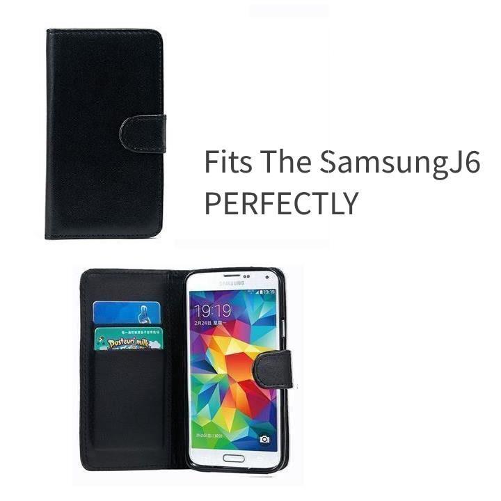 Black Wallet Samsung J6 Phone Case