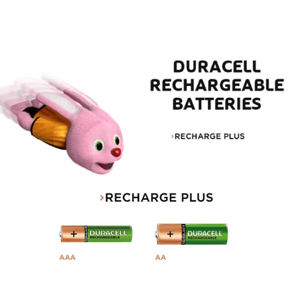 Duracell Bunny and AA and AAA battery