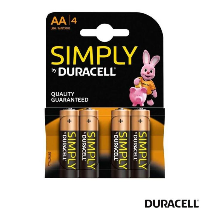 4 Duracell Batteries in a pack AA Size.