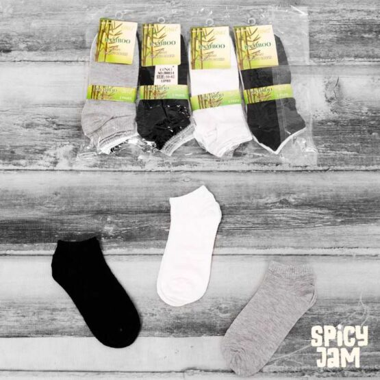 White Black and Grey Ankle Bamboo Socks