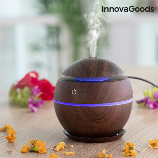 Walnut colored diffuser puffing essential oils