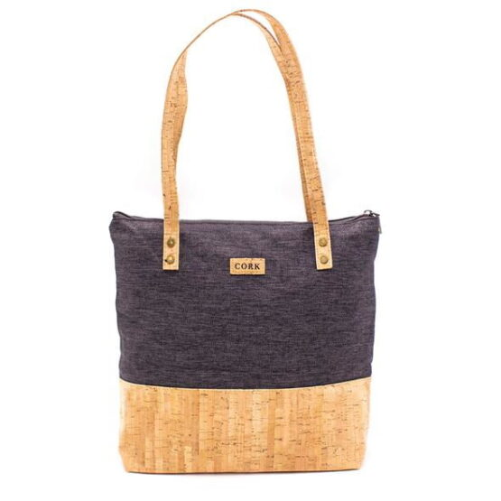Grey and Cork Tote bag with two cork handles