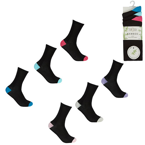 Black bamboo socks with different colour heels and toes