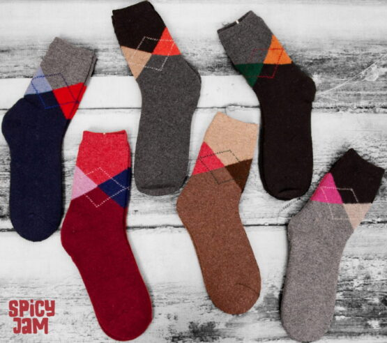 6 argyle wool socks