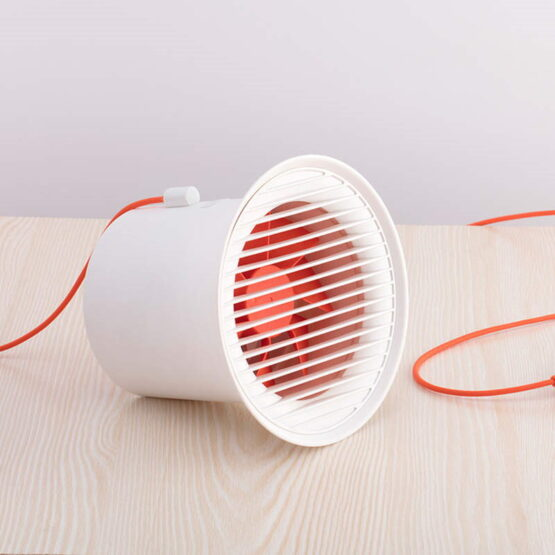White Fan on Desk with USB Cable