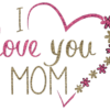 I love you mom text with heart