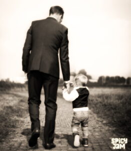 Father and Son in Black And White Picture