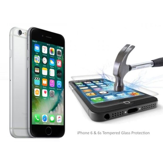 Picture of iPhone 8 and hammer breaking iPhone 6 screen protector
