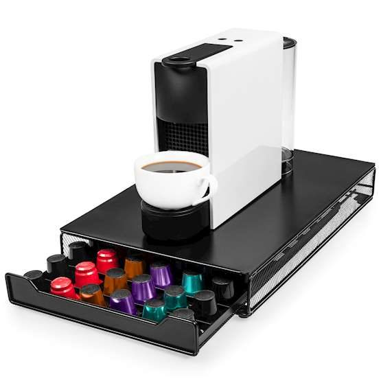 Picture of Nespresso Coffee machine on top of pod storage drawer.