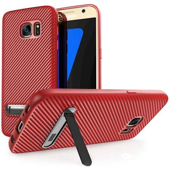3 Samsung S7 Phones with Red Cases and Stands