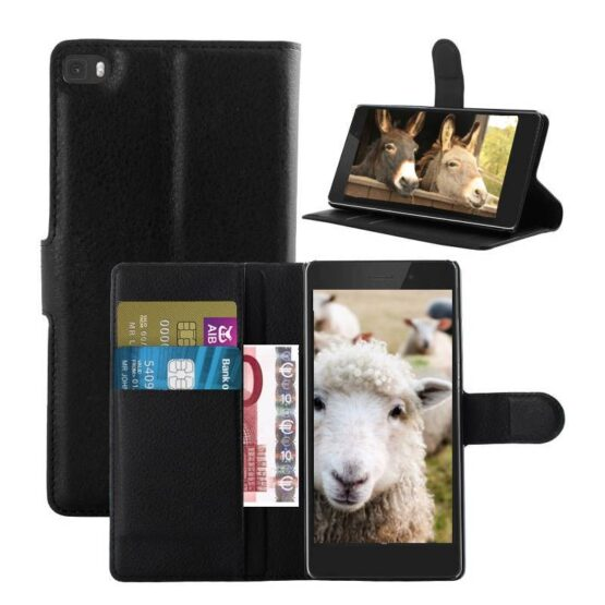 3 Black Phone cases with images of sheep and donkeys