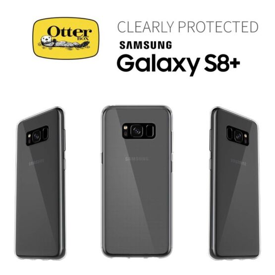 Otterbox Picture of 3 Samsung S8 PLUS with a Clear Case and otterbox logo