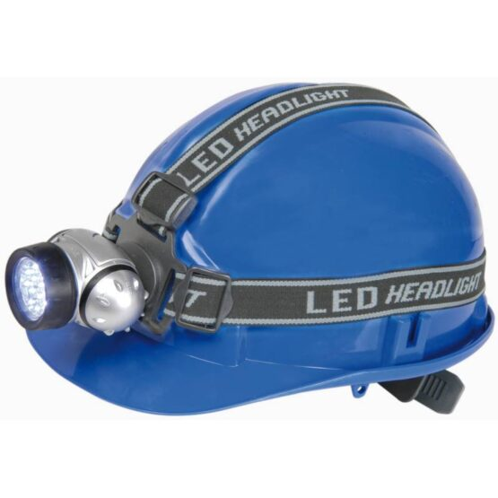 Led head torch on blue hard hat