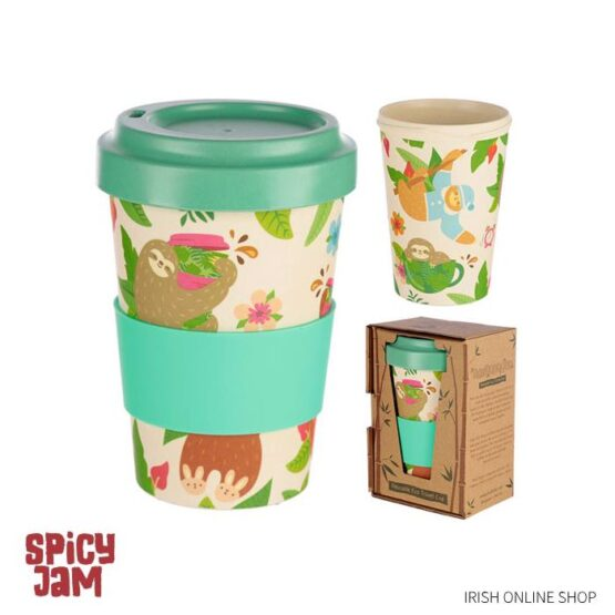 Bamboo Reusable Eco Cup with picture of sloth
